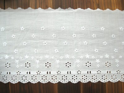 Cotton Lace Fabric Trim - Wide White Flower Floral Scallop Eyelet Lace Cotton Fabric TRIM 8 Inches 1 Meter - Kerry LAST PIECE