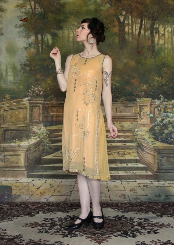 1920s Silk Beaded Gown . Flapper Dress . Gold . by VeraVague