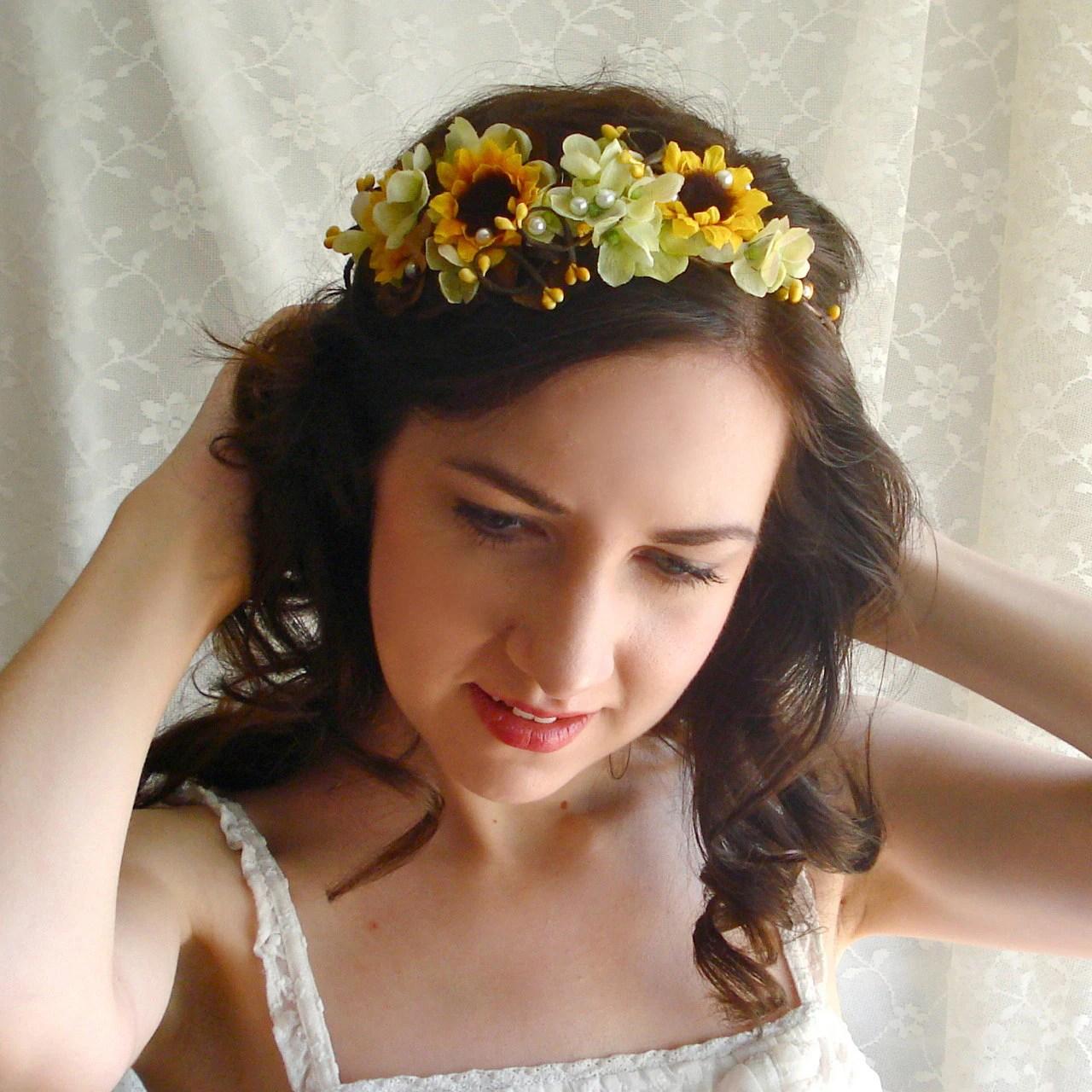 Sunflower Head Wreath Yellow Flower Accessory Bridal Hair