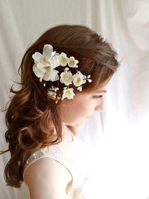 White Cherry Blossom Hair Clip EARTH ANGEL Bridal Wedding
