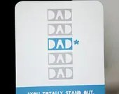 Father's Day Card, Fathers Day Card, teal gray and white, funny father's day card, Dad You Totally Stand Out - ModernElements