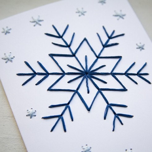 HOLIDAY Embroidery Card Kit Snowflakes On White
