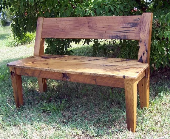 Relaxed Back Reclaimed Barn Wood Dining Benches