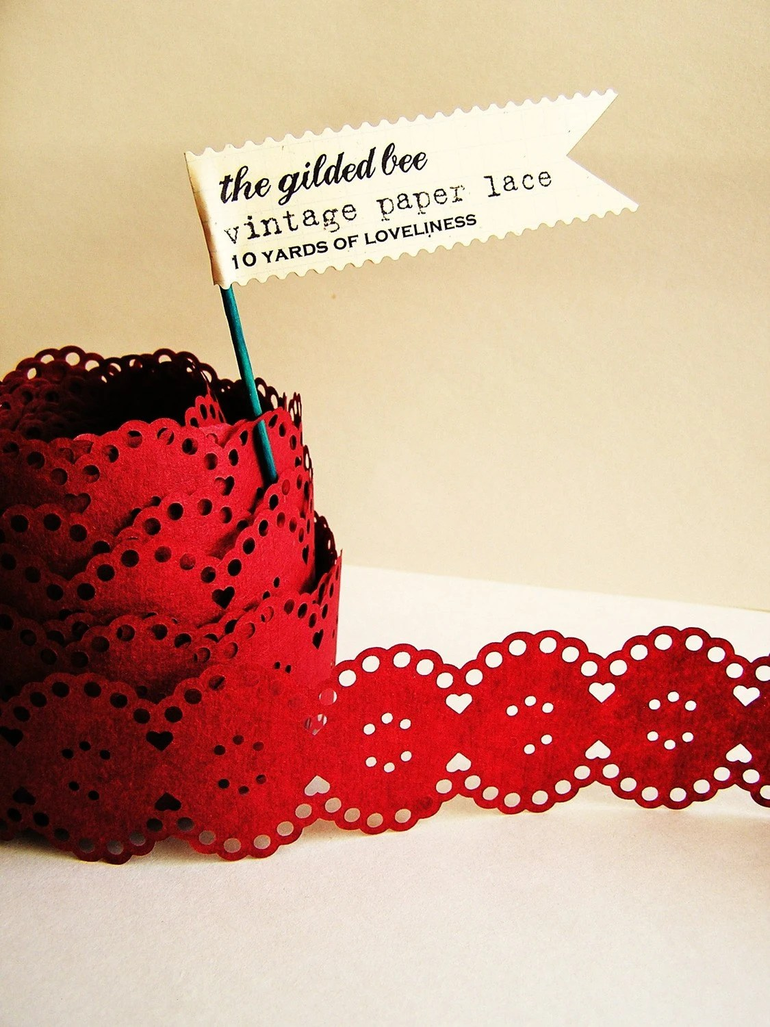Merlot Red Vintage paper lace Ribbon/ trim - for gift wrapping, altered art, scrapbooking, decorating, weddings, party supply, holiday