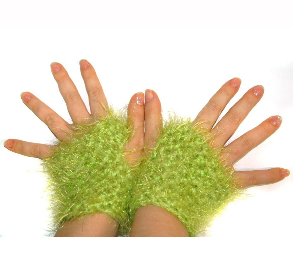 Lime Green Fuzzy Fingerless Gloves - LeafLee
