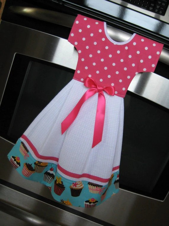 Dish Towel Dress For Oven Door Sweet Tooth Cupcake Retro
