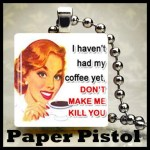 Funny Coffee  Vintage Lady Scrabble Tile pendant Free Ball Chain