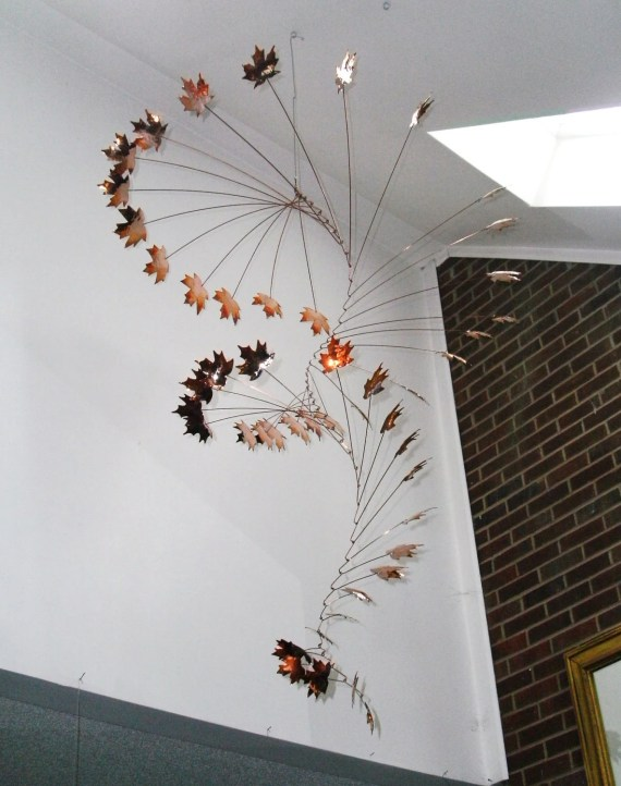 Handmade Copper Mobile w/ Hammered Maple Leaves - jfjones