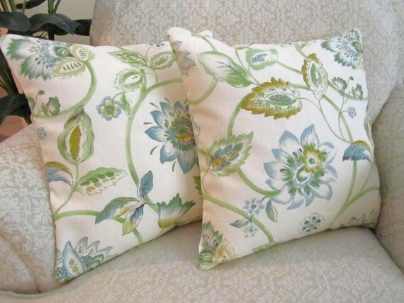 Decorative Throw Pillow Covers Slate Blue Sage Green Set Of