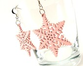 Soft Pink Snowflake Wood dangle winter earrings for her - on sale - AnnyMay