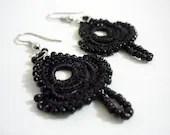 Leyla - Crocheted earrings in black - Febystan