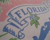Vintage 1950s Florida souvenir tablecloth - pink with blue flamingos and palm trees - 3floridagirls