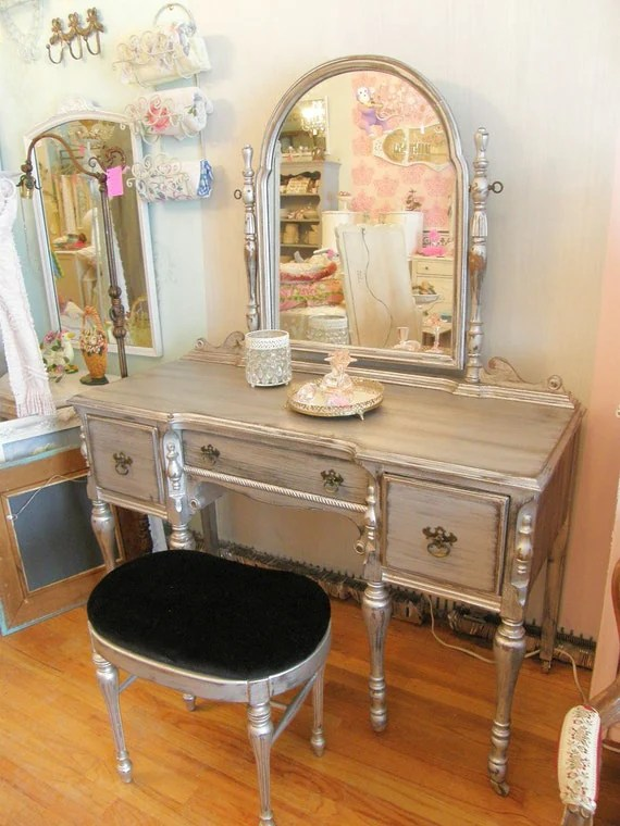 Omg Silver Distressed Vanity And Bench Glam Shabby Chic