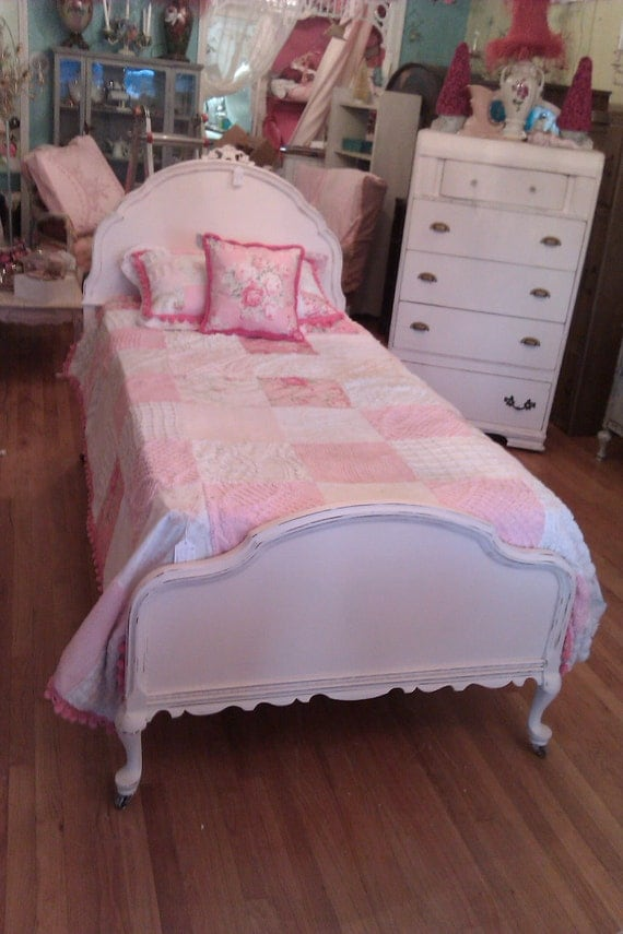 Antique Chic Pink Twin Bed Frame Shabby Distressed Cottage