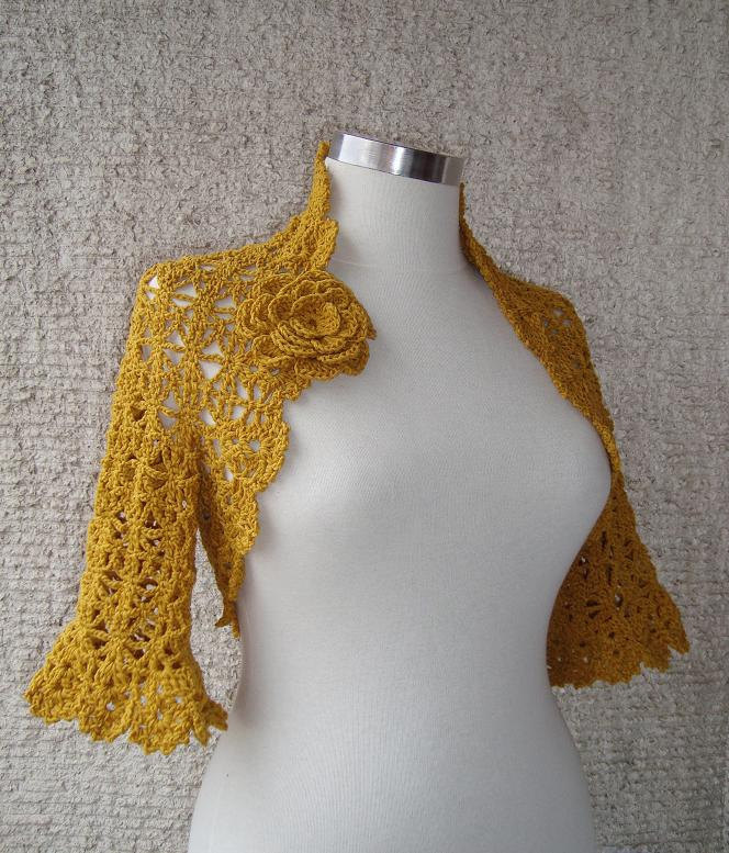 Reserved For Sharon Exspress Delivery - Mustard Gold Yellow Crochet Shrug / Any Season