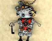 Steampunk Robot Wizard of Oz Tinman Necklace Pin/Brooch Polymer Clay Figurine - Freeheart1