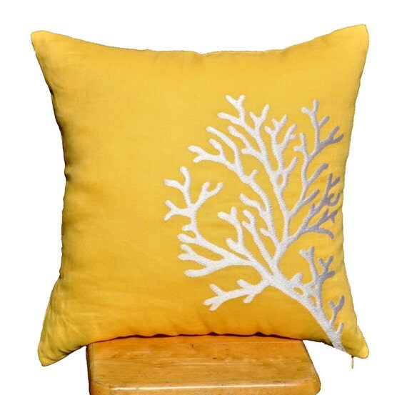 """White Coral Branch Pillow Cover - Embroidered Throw Pillow Cover 18"""" x 18"""" - Yellow Linen with White Coral Branch Embroidery - KainKain"""