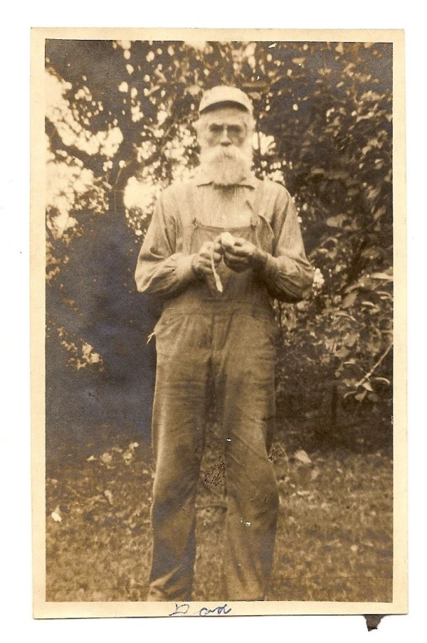 Vintage Photo Old Man Bib Overalls Beard Mustache Dad