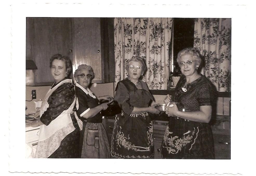 Vintage Photo Women In Aprons Cook Christmas Dinner December
