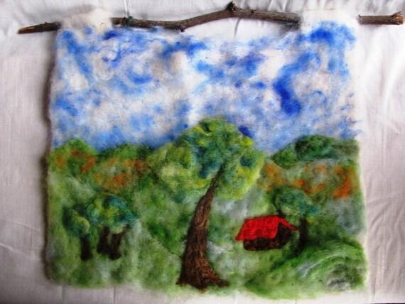 Needle Felted Landscape Scene Wall Hanging