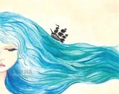 Ocean Daydream watercolor illustration art print - JennaDickes