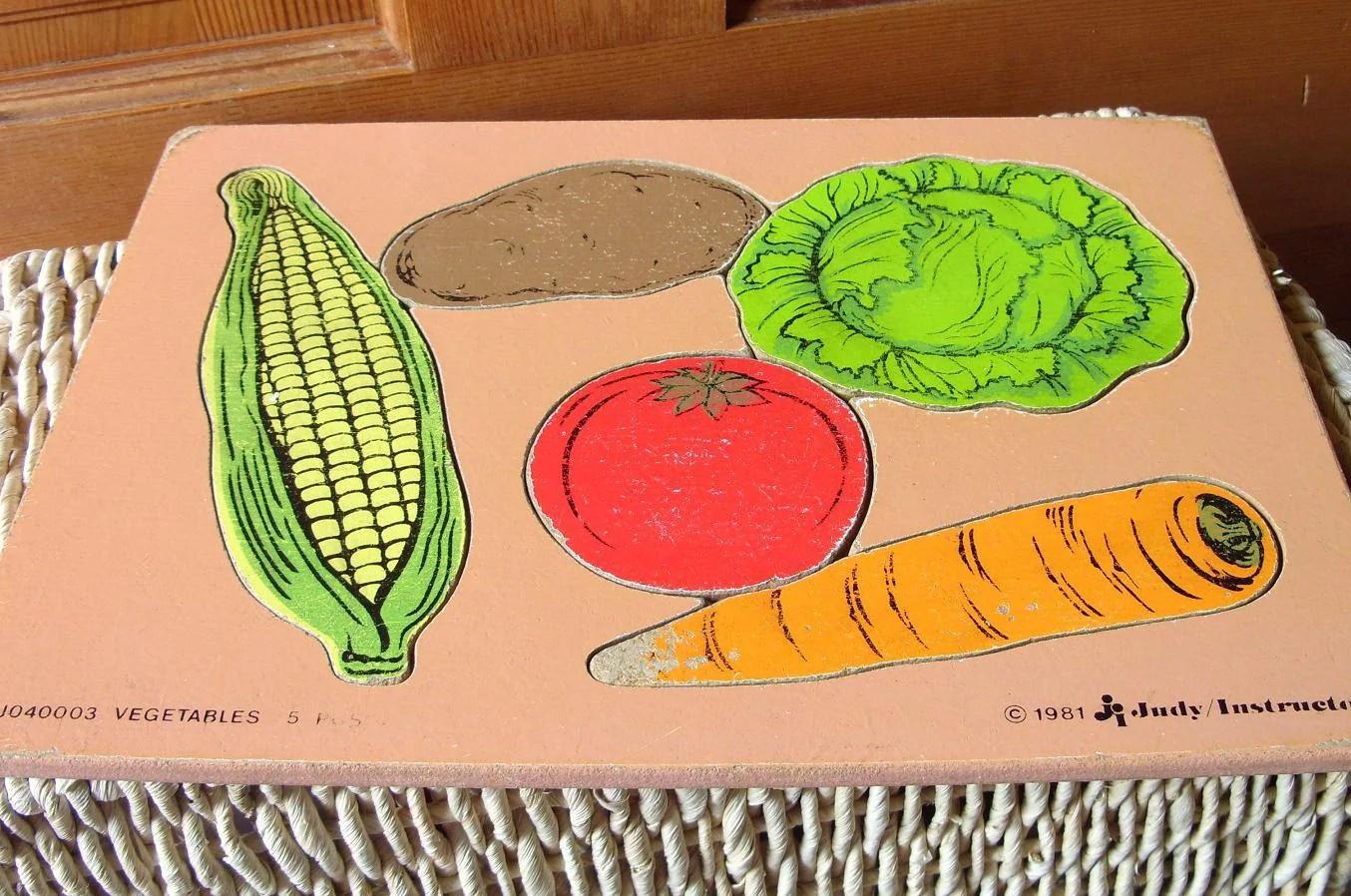 Vintage Wood Vegetable Puzzles Toddler Preschool Playskool
