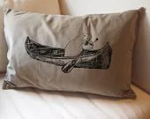 MANATEE in a Canoe - Large  Eco Throw Pillow Cover Sham 16x24 - Tan Cotton Velvet - ZenThreads