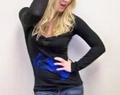 Womens Tshirt - Hummingbird / Alternative Apparel long sleeved V-neck / fall fashion / trending / sexy tee - RCTees