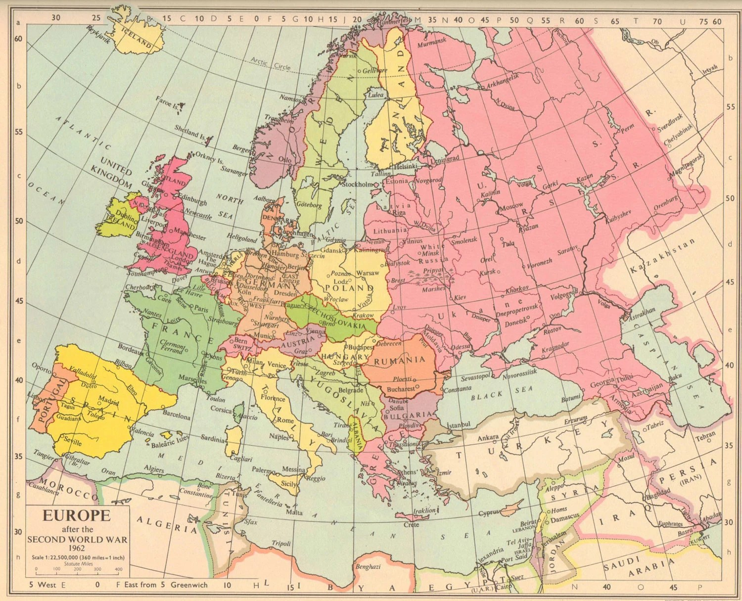 Vintage Map Europe After The Second World War In Pink