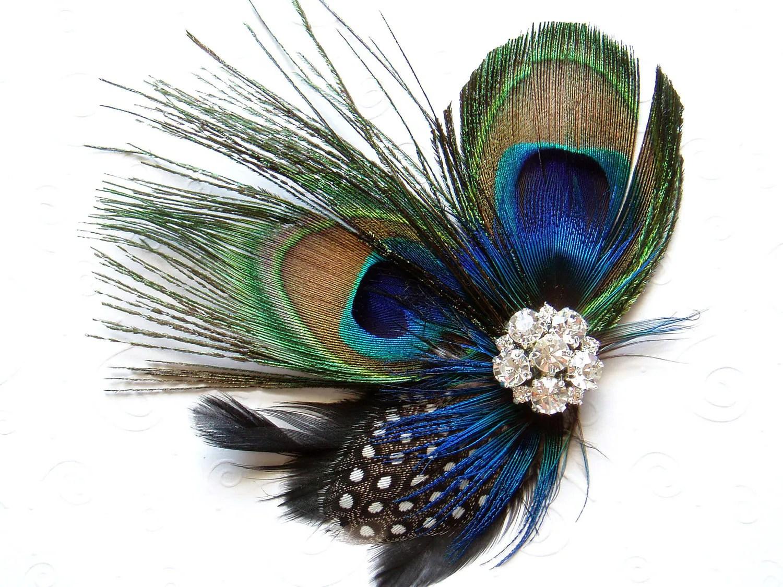 Blue Peacock Feather Hair Clip WEDDING Hair Piece Bridal