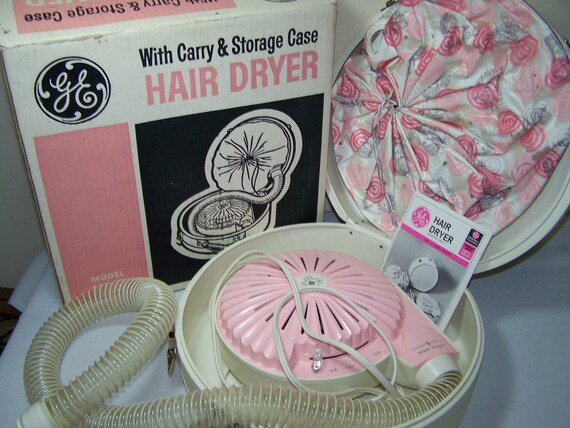 Vintage 1965 Hair Dryer GE Pink Cream Works Model HD 11