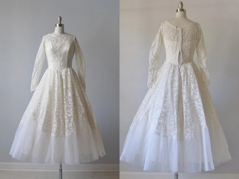 Tea Length Wedding Dress / 1950s Tea Length By