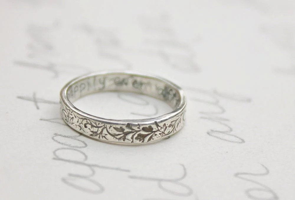 thin wedding band ring with vines . recycled silver leaf wedding bands . engraved message rings . made to order - peacesofindigo