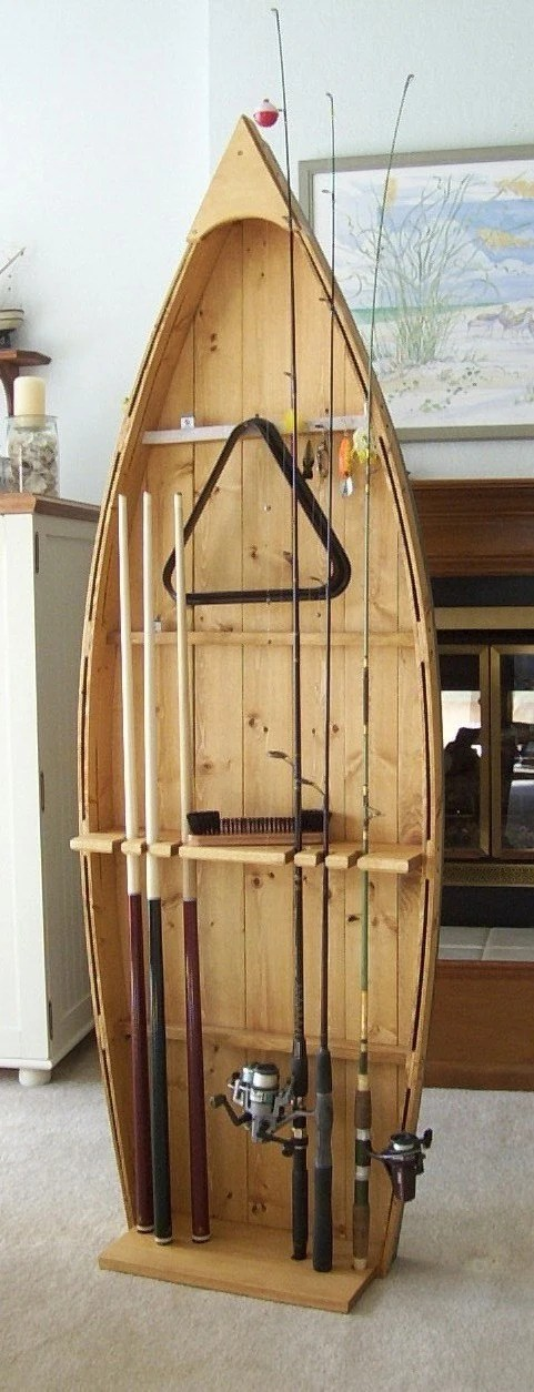 Fishing Rod Display Storage Rack pole holder stand and pool cue stick holder