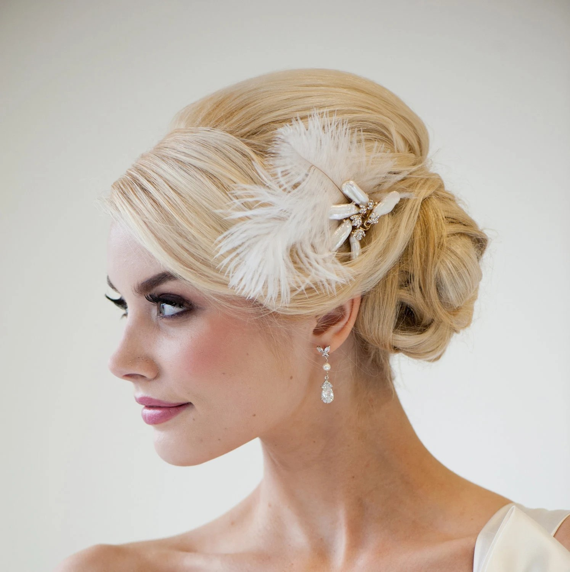Bridal Fascinator Wedding Hair Accessory Ivory Feather