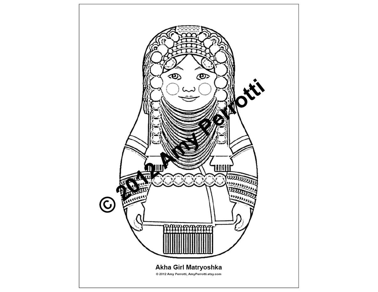 Akha Girl Matryoshka Coloring Sheet Printable By Amyperrotti