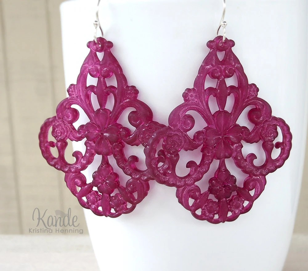 Plum Chandelier Earrings Lucite Gypsy Large Drop Spring Fashion Kande Jewelry