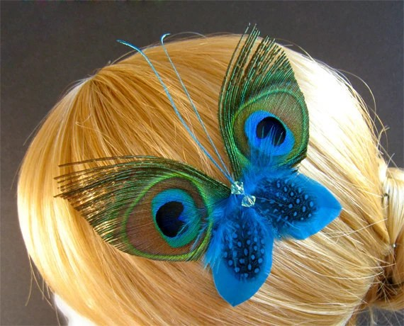 Blue Butterfly Hair Clips Feathers Peacock Headpieces Wedding