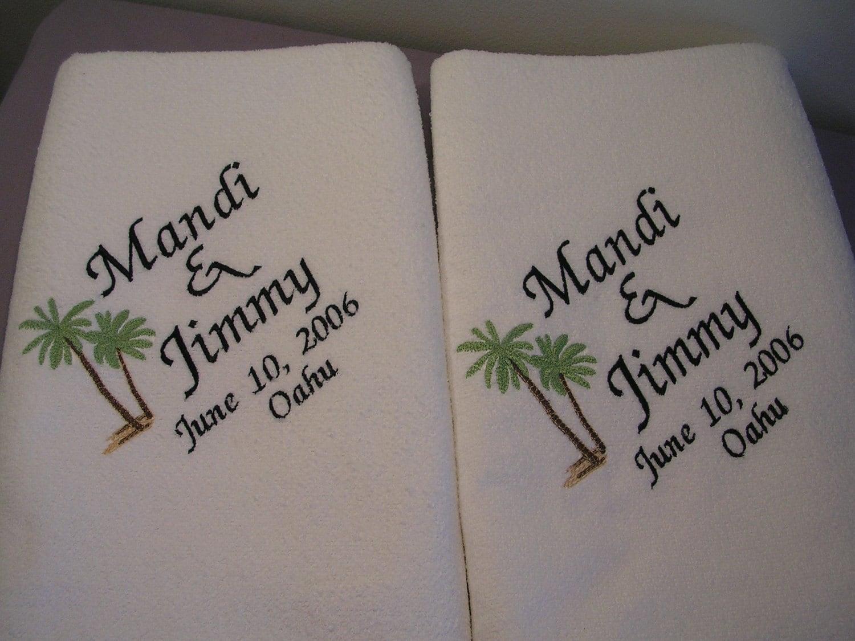 2 Wedding BeachTowels For Bride And Groom Towels Wedding Gift