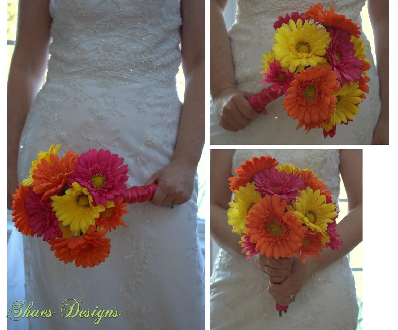 Fuchsia Hot Pink Orange And Yellow Gerbera Daisy Wedding