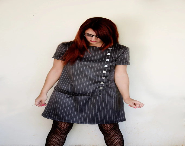 Mod Dress in Dark Grey Pinstripe Asymmetrical with short Sleeves Vintage Inspired - karmologyclinic