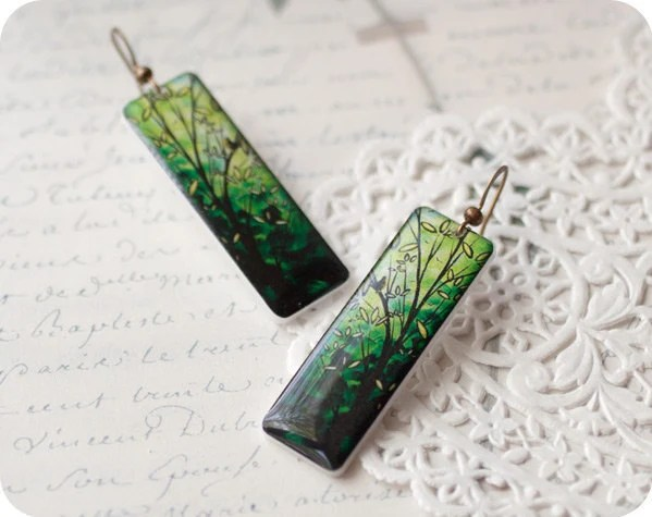 Long Green earrings - Autumn jewelry (E034)