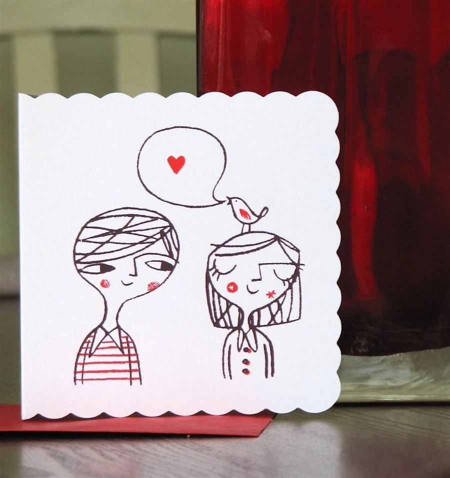 Love bird- hand screen printed card - lisastubbs