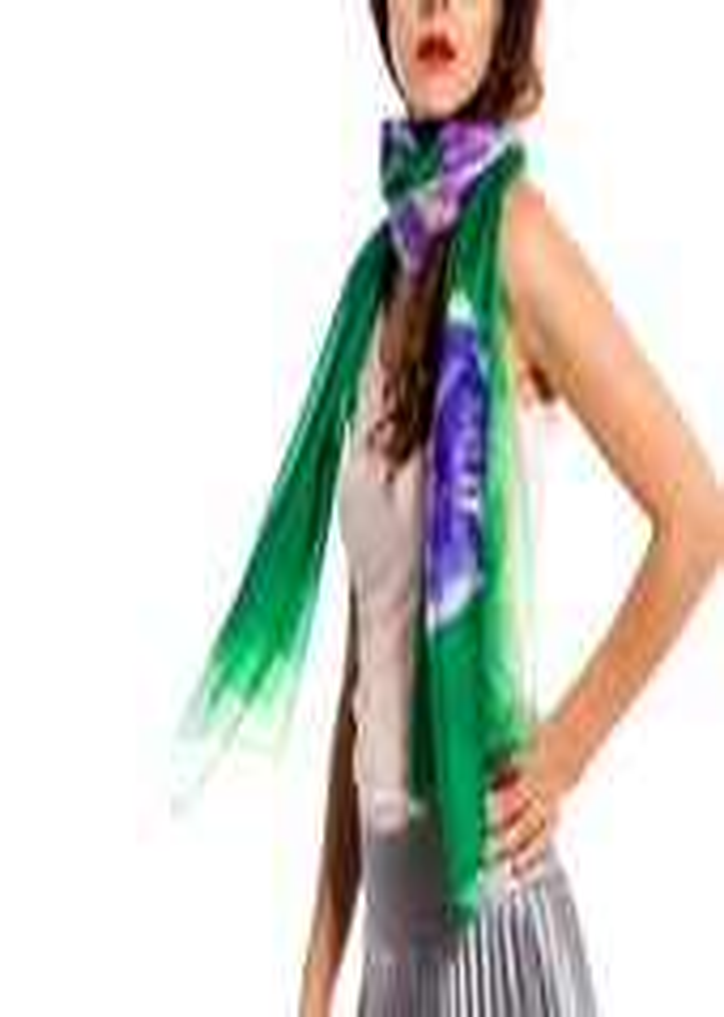 Hand painted silk scarf- Ultramarine Violet flowers in Permanent Green - klaradar