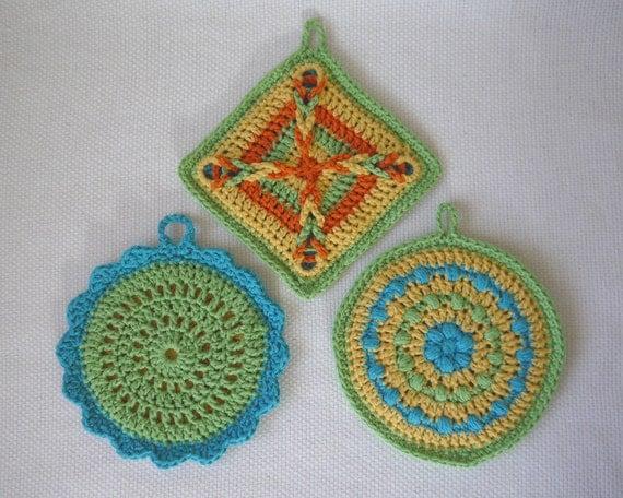 Colorful Pot Holder Set Crochet Pattern