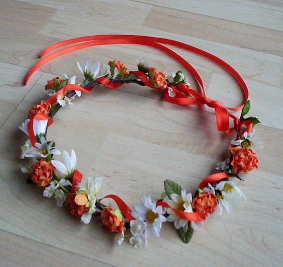 Orange Flower Crown Bridal Headpiece Tangerine Summer Wedding