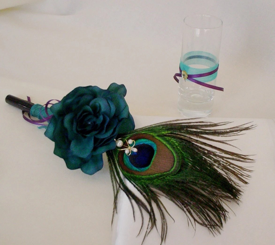 Peacock Feather Pen Teal Wedding Accessories