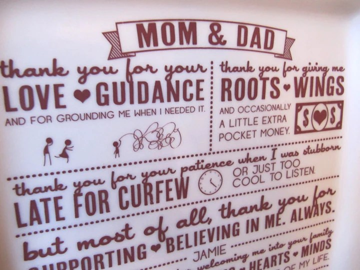 Parent Wedding GiftThank You Platter From Bride And Groom