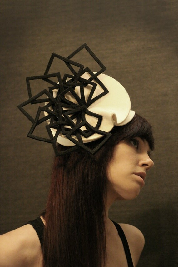 Cream Felt Hat with Black Felt Fan Accent - Fractal Series - pookaqueen