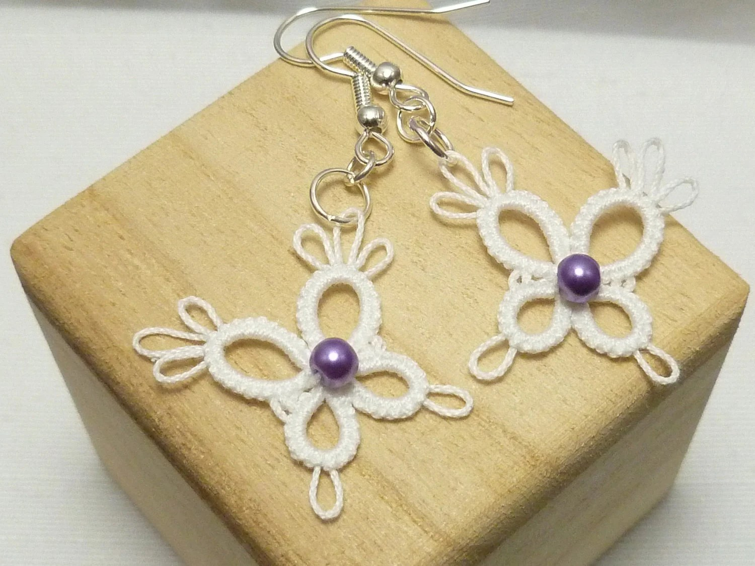 Little Tatted Butterfly Earrings -PIXIES in white with purple glass pearl